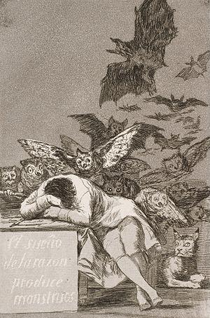 Goya, Le sommeil de la raison engendre des monstres, 1799, Nelson-Atkins Museum of Art